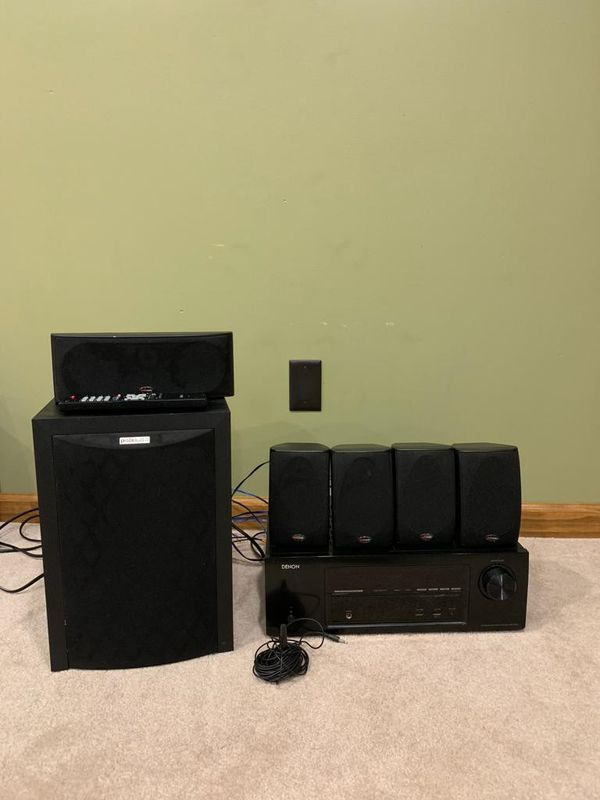 Denon 1613 Receiver with Polk Audio Subwoofer and 5 speakers - 250