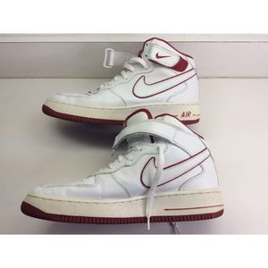 Vintage Nike Air Force 1 Mid Height White Red 2002 Basketball Sneakers SZ 10 VGC for Sale in Concord, NC