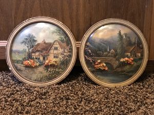 Antique 1930s ~ Set of 2 Convex Glass Wall Plaques for Sale in Hesperia, CA