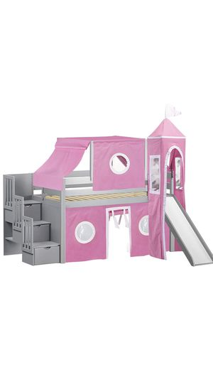 Princess Low Loft Stairway Bed with Slide Pink & White Tent and Tower, Loft Bed, Twin for Sale in Winter Garden, FL