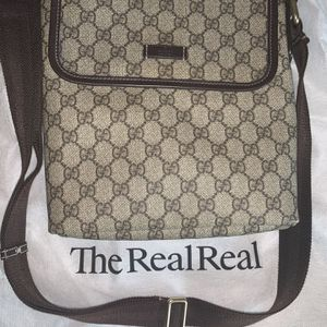 Gucci GG Canvas Leather Trim Crossbody Messenger Bag Brown and Tan for Sale in Riverside, CA
