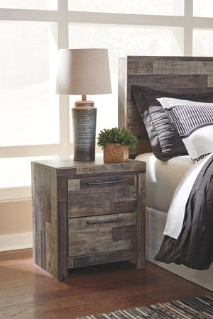 Ashley Furniture Multi Gray Two Drawer Night Stand with USB Charging Station for Sale in Santa Ana, CA
