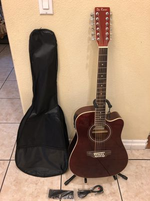 De Rosa 12 string electric acoustic guitar with case cable and strap for Sale in Cudahy, CA