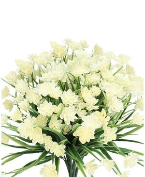TEMCHY Artificial Daffodils Fake Large Flowers, 4 Bundles White UV Resistant Faux Greenery Foliage Plants Shrubs for Garden, Wedding, Outside Hanging for Sale in Bakersfield, CA
