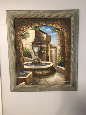 Framed Canvas Painting - Courtyard Fountain for Sale in Rancho Palos Verdes, CA