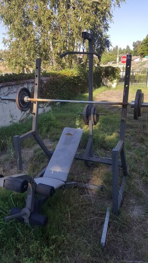 Weider Olympic size standard bench and weights for Sale in Riverside, CA