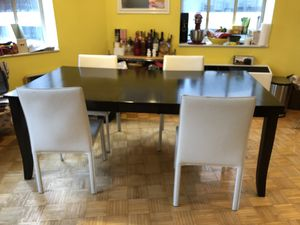 Gorgeous Dark Wood Table with Extension + four white chairs for Sale in New York, NY