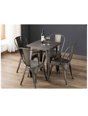 Metal restaurant pub table with four metal barstool chairs BRAND NEW IN BOX. Dining table set metal set metal table metal chairs for Sale in La Habra, CA