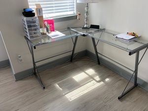glass / silver modern corner desk for Sale in Fort Lauderdale, FL