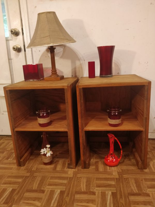 "Solid wood 2 night stand/side tables with shelves in great condition, pet free smoke free. L18""*W16""*H24"""