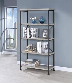 -Bookshelves- Grey driftwood shelves with black iron- for Sale in Ontario, CA