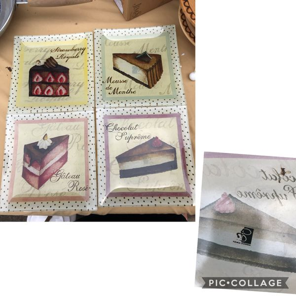 """GUC Prima Donna Set of 4 Fancy Cakes Design 6"""" Glass Plates $8. Very Pretty No Chips or Cracks Walgreens Oakland Canada rd wolfchase Kirby whitten"""