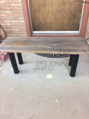 """BENCH - 35x12x15"""" h. RUSTIC WOOD TOP - BLACK IRON LEGS. Pick up in Escondido $34.00 for Sale in Escondido, CA"""