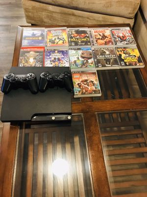 PS3 with 11 games all in GOOD CONDITION ALL WIRES INCLUDED for Sale in Austin, TX