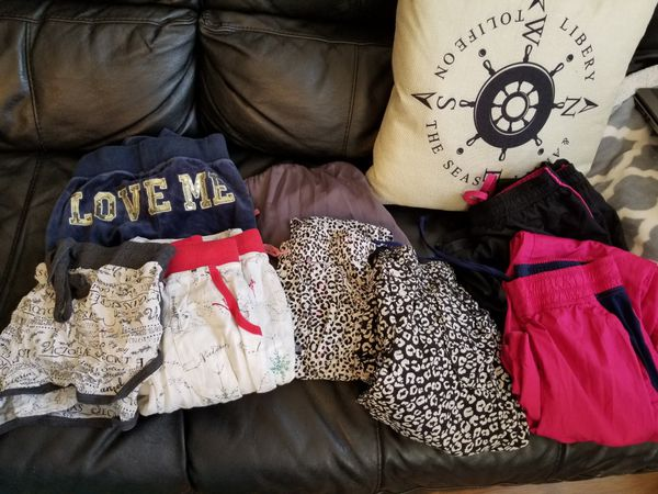 7 pajama pants and 1 pajama shorts