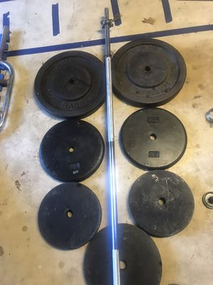 225 Lbs 1 inch standard weights plates and heavy duty barbell for Sale in Centreville, VA