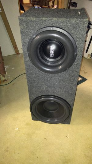 Sundown Audio X12 and Crescendo Amp BC2000D with Passive Radiator and Sealed Box for Sale in Oshkosh, WI