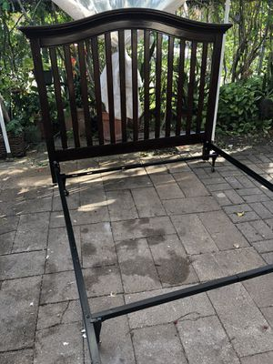 Cherry wood full size headboard and metal bed frame for Sale in Robstown, TX