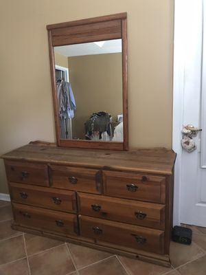 Antique Distressed Real Wood Dresser With Mirror for Sale in Stockbridge, GA