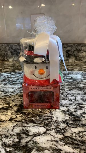 New snowman yankee candle holder with cherries on snow candles for Sale in Billerica, MA