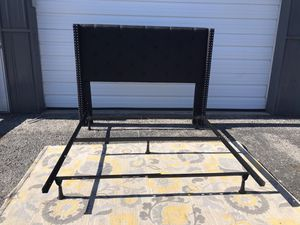 New QUEEN size metal bed frame and tufted headboard for Sale in Upper Arlington, OH