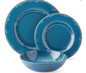 New Williams Sonoma 'Rustic' Azure Blue Melamine Dishes/Bowls (Set of 12) for Sale in Washington, DC