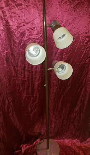 Mod 60s VINTAGE POLE LAMP - Stunning Mid Century Modern Floor Lamp - White Shades Silver Chrome- Wood Grain Faux Bois - 3 Light for Sale in Richmond, VA