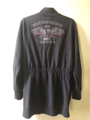 Harley Davidson Women's Size L Tunic Length Full Zip Sweatshirt Jacket With Embroidered HD Emblem for Sale in South Amherst, OH