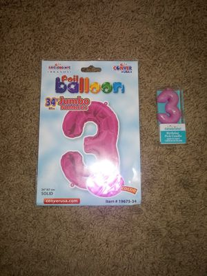 Birthday Balloon and candle for Sale in El Paso, TX