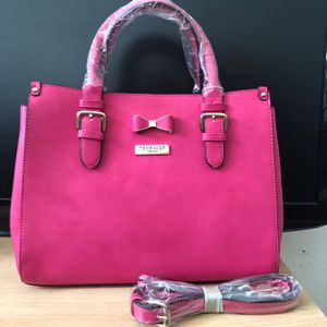🎁💕New Ted Baker London BOW TOTE Leather handbag with straps.Hot Pink!💕 for Sale in Moreno Valley, CA