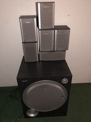 6pc Sony MSP88 100w surround speaker system plus Sony SA-WMSP68 Bass Reflex Subwoofer and Sony STR-K6800P Stereo FM/AM Rwceiver for Sale in Burbank, CA