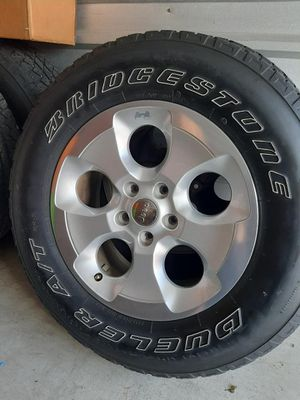 5 Jeep Rims or Wheels with Bridgestone Tires Size P255/70R18 112S and Spare Cover for Sale in Largo, FL