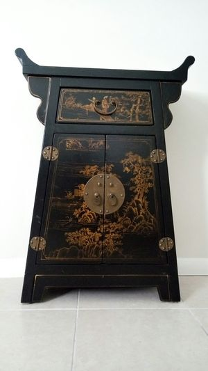 Oriental, antiquity, furniture, asian Cabinet Lacquered Landscape Art for Sale in Boca Raton, FL