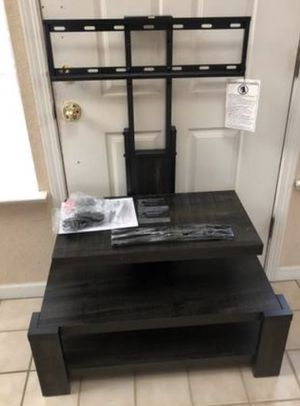 """New Rustic Wood Black Brown 3 Shelf TV Stand Console Table + Floater Mount TVs up to 55"""" Wooden for Sale in Elk Grove, CA"""