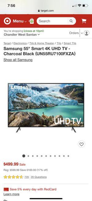 "Samsung 7 Series UN55RU7100F - 55"" LED Smart TV - 4K UltraHD for Sale in Surprise, AZ"