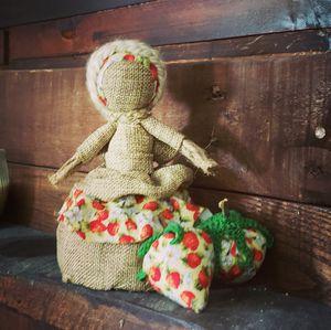 Primitive Handmade Doll with Strawberries Folk Art Decoration for Sale in Jupiter, FL