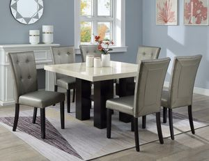7 pc Belise black finish wood square faux marble top dining table set silver chairs for Sale in Marlborough, MA