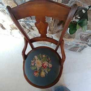 Antique parlor chair with walnut burl inlay and embroided seat small for Sale in Mercer Island, WA