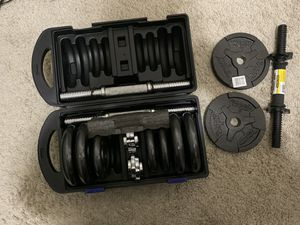 CAST IRON DUMBBELL SET WITH CASE for Sale in Dublin, OH