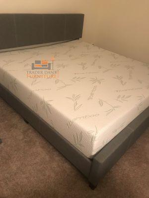 Brand New King Size Grey Linen Upholstered Platform Bed + Gel Foam Mattress for Sale in Silver Spring, MD