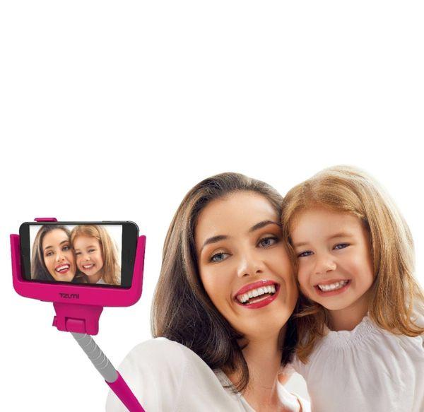 """Bluetooth Tzumi Shutter Stick Extendable Wireless w/ Shutter Selfie Stick 12""""-39"""" Pink"""
