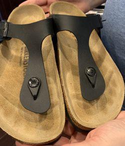 Birkenstock Sandals / Gizeh Black Leather - Worn once! for Sale in Fort Washington,  MD
