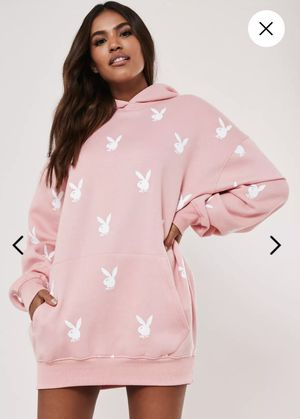 playboy x missguided pink repeat print oversized hoodie dress for Sale in Houston, TX