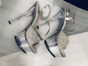 Clear and glittery silver platform heels. for Sale in La Mirada, CA