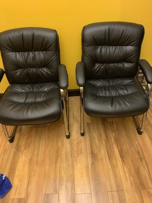 2 Leather Sled Base Side Chair in Black for Sale in Chesapeake, VA