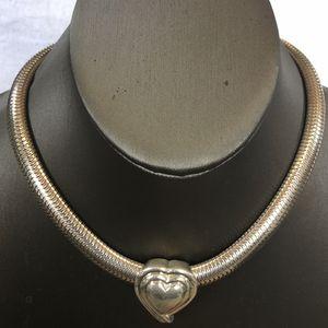 "Sterling Silver Herringbone Necklace Heart Charm 15""Long ( 9mm width) for Sale in Lynwood, CA"
