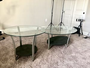 Grey round table and side table with wooden base and glass top, local pickup only for Sale in Darnestown, MD