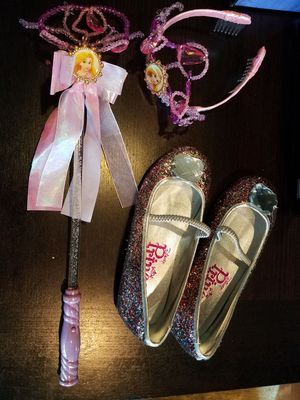 Rapunzel Balerina Flats Size 2/3 with tiara and wand that glows for Sale in Beaverton, OR