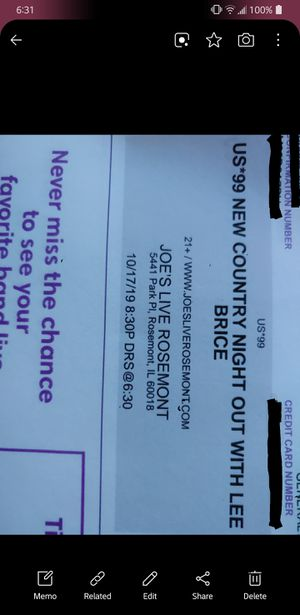 Lee Brice Tickets for Tonight (2) for Sale in Romeoville, IL
