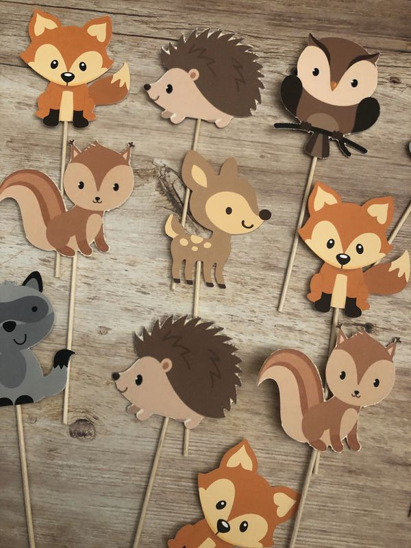 Woodland theme cupcake toppers